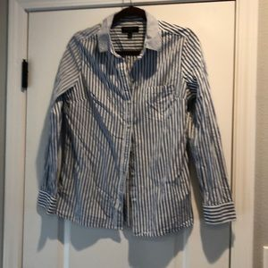 White and blue vertical striped button down